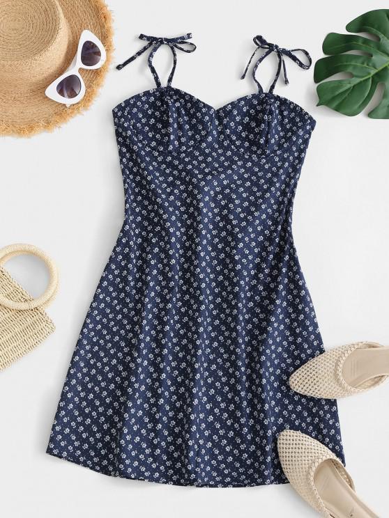 ladies Tie Ditsy Print Smocked Back Bustier Dress - DEEP BLUE M