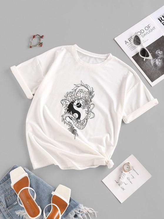 trendy ZAFUL Dragon Yin and Yang Oriental Drop Shoulder T Shirt - WHITE M