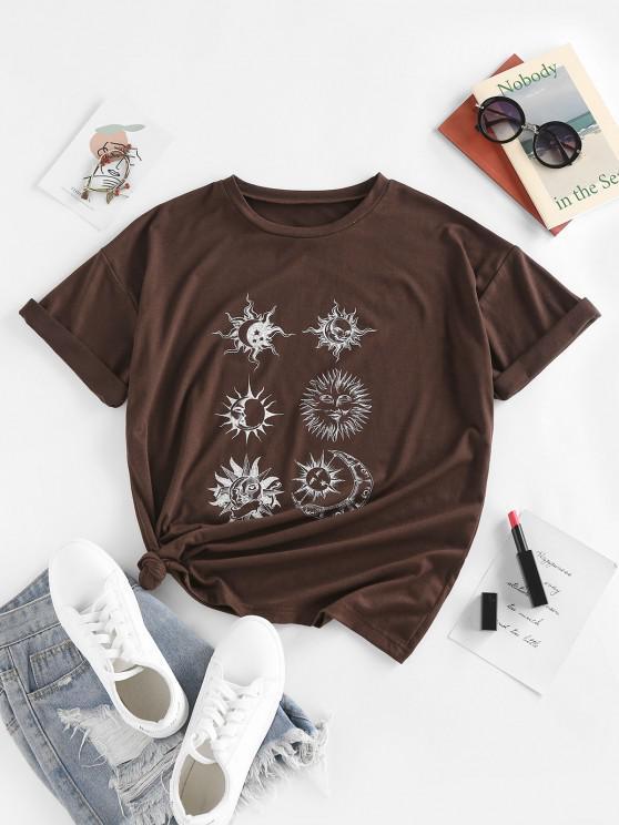 fashion ZAFUL Sun Moon Star Print Drop Shoulder T Shirt - DEEP COFFEE M