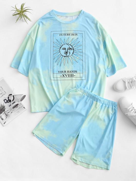 women's Tie Dye Sun Pattern Drop Shoulder Two Piece Shorts Set - BLUE L