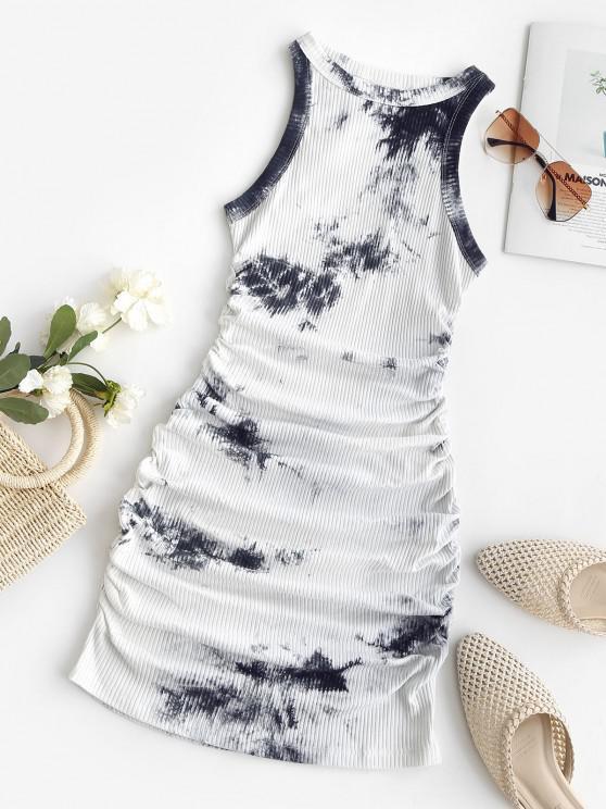 Tie Dye Ribbed Ruched Bodycon Tank Dress - الرمادي الداكن M