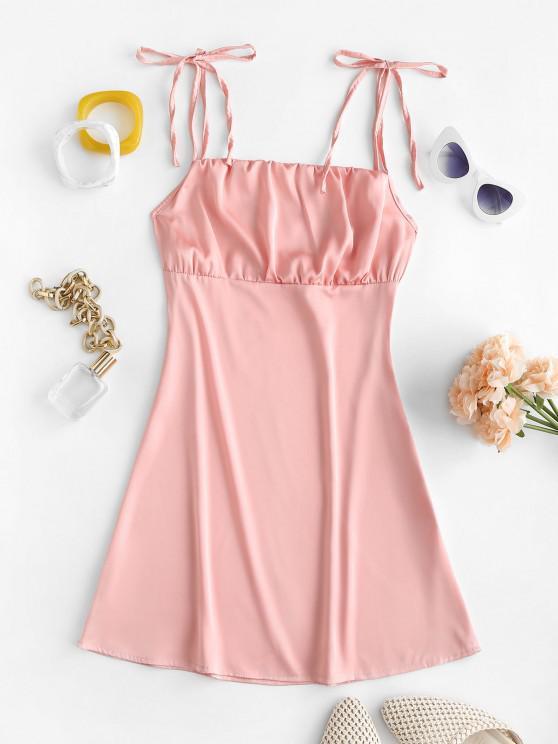 women Tie Ruched Detail Satin Slip Dress - LIGHT PINK L