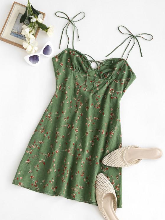 unique Spaghetti Strap Tie Floral Bustier Dress - DEEP GREEN M