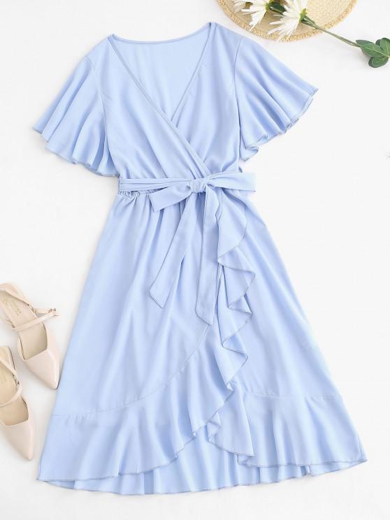 Robe Superposée Ceinturée Manches Bouffantes à Volants - Bleu clair S