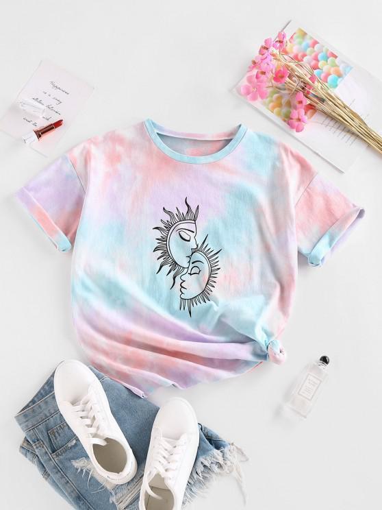 fancy ZAFUL Sun Tie Dye Drop Shoulder T Shirt - MULTI S