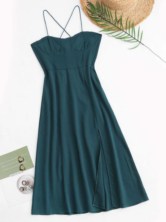 online Tie Back Smocked Front Slit Midi Dress - GREEN M