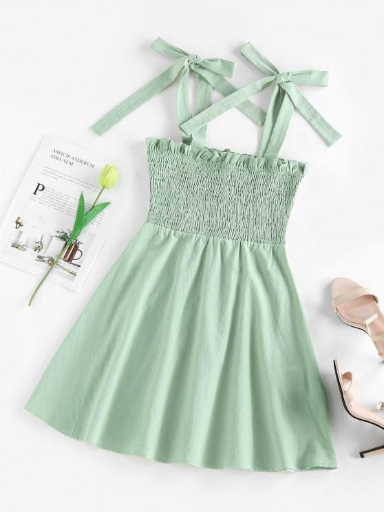 ladies ZAFUL Ruffle Shirring Flare Mini Dress - LIGHT GREEN M