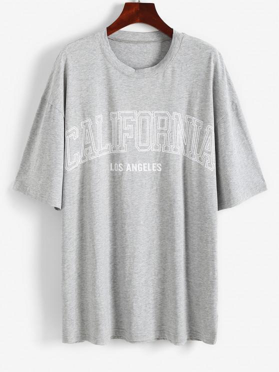 Camiseta de Túnica con Letras Grafico de Hombro Caído - Gris XS