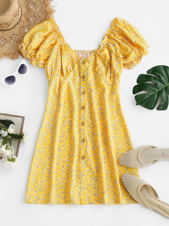 new Leaf Print Frilled Button Down Milkmaid Dress - LIGHT YELLOW S