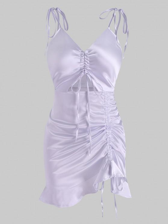 hot Satin Cinched Tie Strap Ruffle Slip Dress - LIGHT PURPLE L