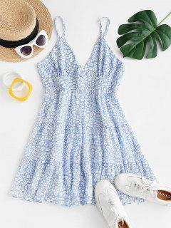Ditsy Print Chiffon Tiered Sundress - Light Blue S