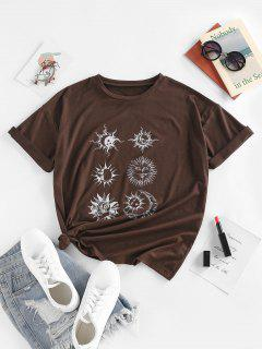 ZAFUL Sun Moon Star Print Drop Shoulder T Shirt - Deep Coffee M