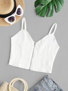 Ribbed Zip Up Crop Tank Top - White S