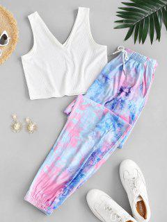 Tie Dye Ribbed Drawstring Two Piece Pants Set - Multi L