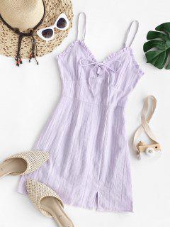 Spaghetti Strap Frilled Tie Textured Dress - Light Purple M
