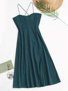 Tie Back Smocked Front Slit Midi Dress - Green L