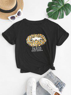 Leopard Lip Paris Graphic Tee - Black S