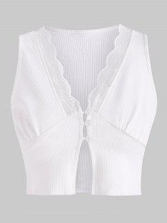 Ribbed Lace Insert Loop Button Crop Top - White Xl