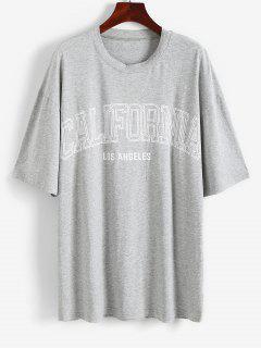 Letter Graphic Boyfriend Drop Shoulder Tunic Tee - Gray M