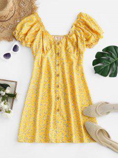 Leaf Print Frilled Button Down Milkmaid Dress - Light Yellow L