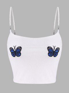 Top A Costine Ricamato A Farfalla Con Perle Finte - Bianca M