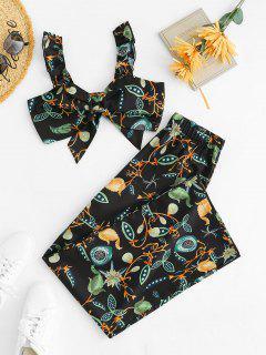 Ruffle Knot Flower Two Piece Palazzo Pants Set - Black Xs