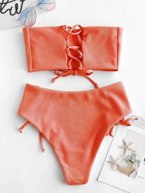 sale ZAFUL Lace Up Ribbed Strapless Bikini Set - ORANGE S Mobile
