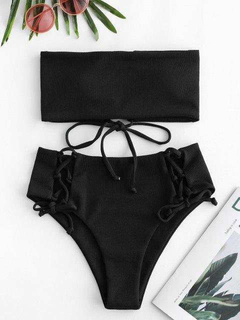 shops ZAFUL Lace Up Ribbed Strapless Bikini Set - BLACK M Mobile