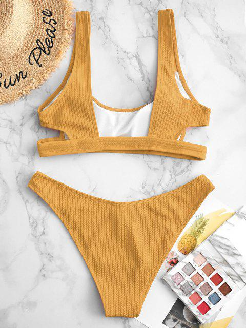 outfit ZAFUL Textured Cutout High Cut Bikini Swimsuit - DEEP YELLOW S Mobile