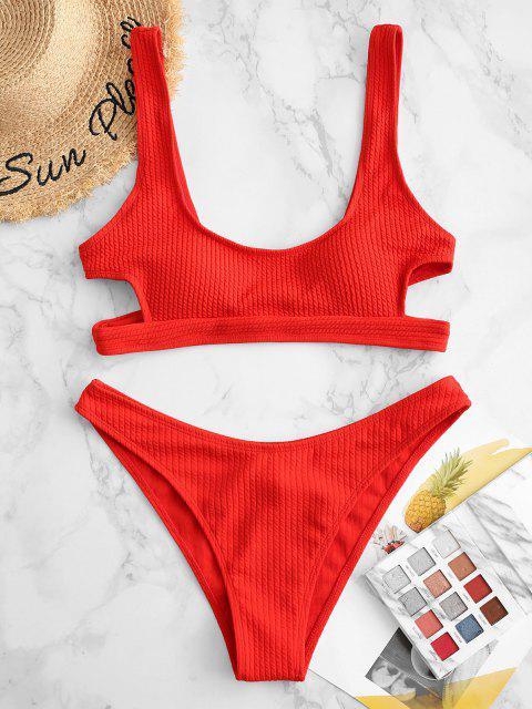 ZAFUL Bikini de Corte Alto con Textura - Rojo S Mobile