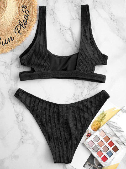 sale ZAFUL Textured Cutout High Cut Bikini Swimsuit - BLACK S Mobile