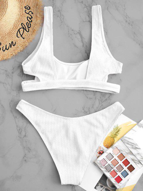 buy ZAFUL Textured Cutout High Cut Bikini Swimsuit - WHITE L Mobile