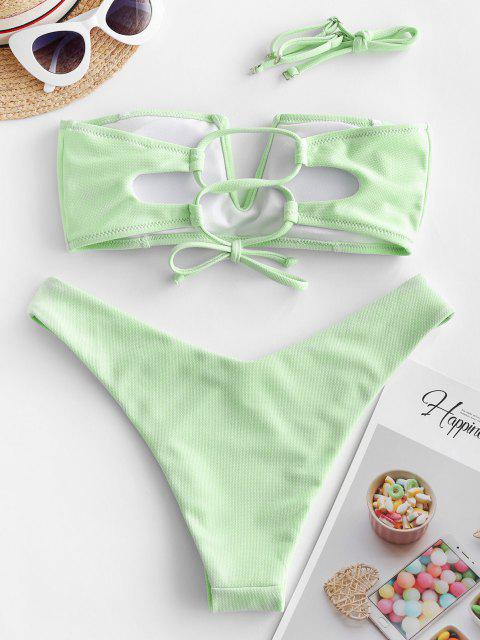 shop ZAFUL Textured V-wired Bandeau Bikini Swimsuit - MINT GREEN M Mobile