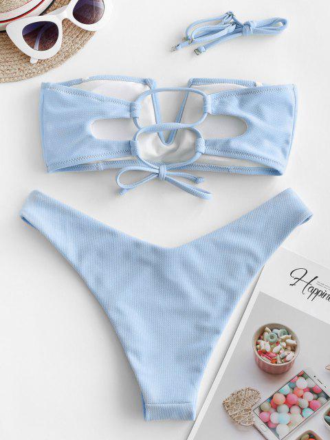 shops ZAFUL Textured V-wired Bandeau Bikini Swimsuit - LIGHT BLUE S Mobile