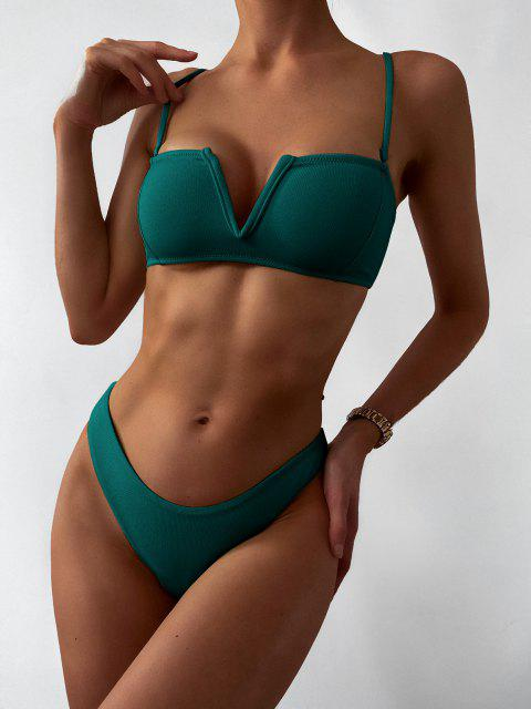 outfit ZAFUL Textured V-wired Bandeau Bikini Swimsuit - GREENISH BLUE S Mobile