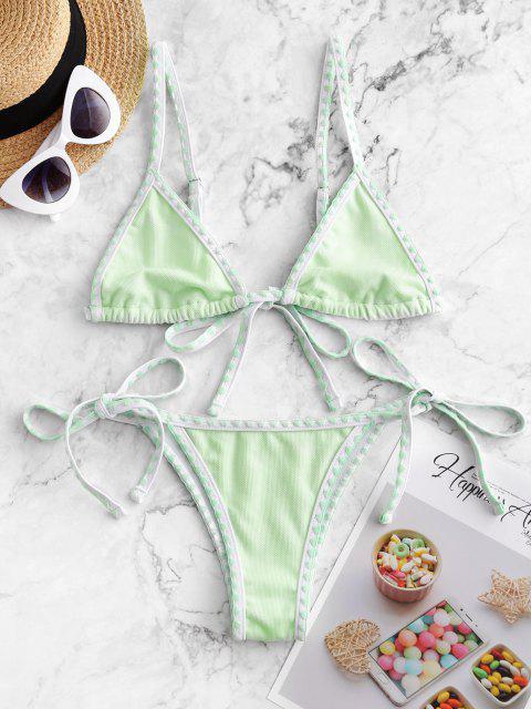 online ZAFUL Textured Whip Stitch String Bikini Swimsuit - MINT GREEN S Mobile