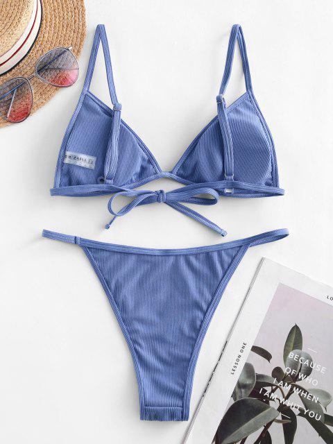 lady ZAFUL Ribbed Tie String Bikini Swimsuit - OCEAN BLUE S Mobile