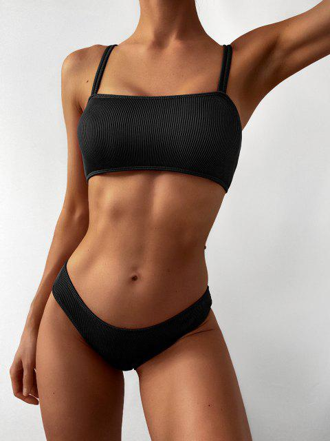 affordable ZAFUL Cinched Textured Ribbed Bikini Swimsuit - BLACK M Mobile