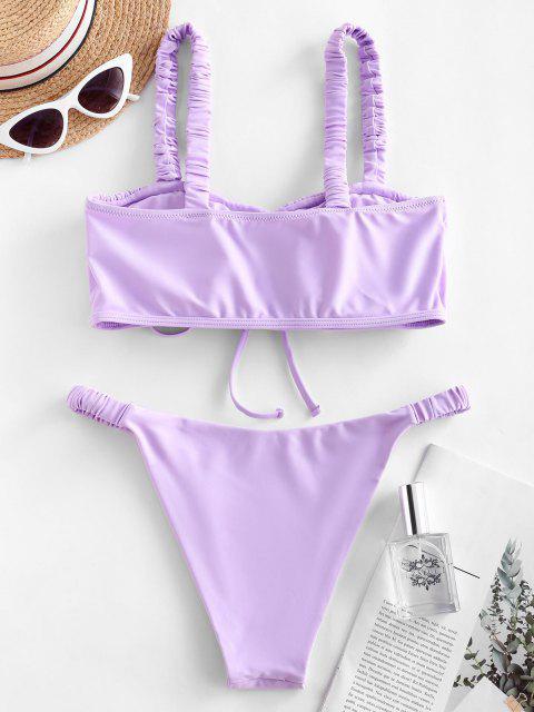 ZAFUL Maillot de Bain Bikini Plissé à Bretelle Elastique - Bleu Lavande L Mobile
