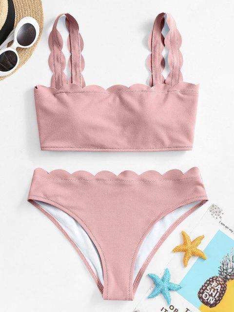 new ZAFUL Textured Scalloped Bikini Swimsuit - LIGHT PINK S Mobile