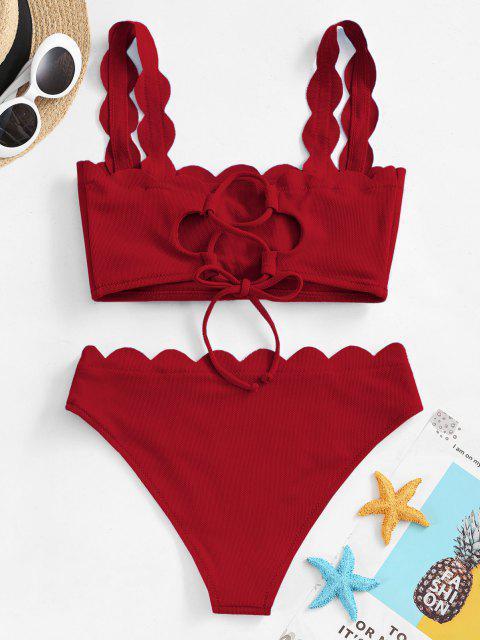 Costume da Bagno Bikini Smerlato di ZAFUL - Vino Rosso S Mobile