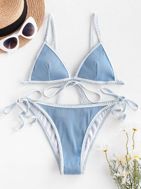 best ZAFUL Whip Ribbed Tie String Bikini Swimsuit - LIGHT BLUE S Mobile