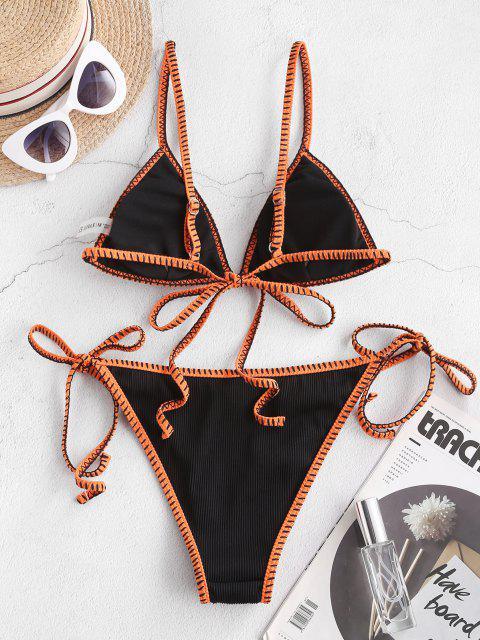 buy ZAFUL Whip Ribbed Tie String Bikini Swimsuit - BLACK S Mobile