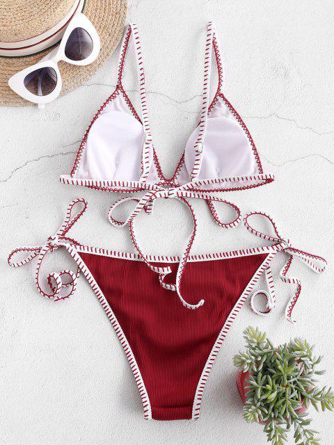 ZAFUL Bikini con Cordoncino a Frusta Testurizzata - Vino Rosso L Mobile
