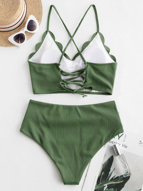 best ZAFUL Ribbed Scalloped Lace Up Tummy Control Tankini Swimsuit - MEDIUM FOREST GREEN M Mobile
