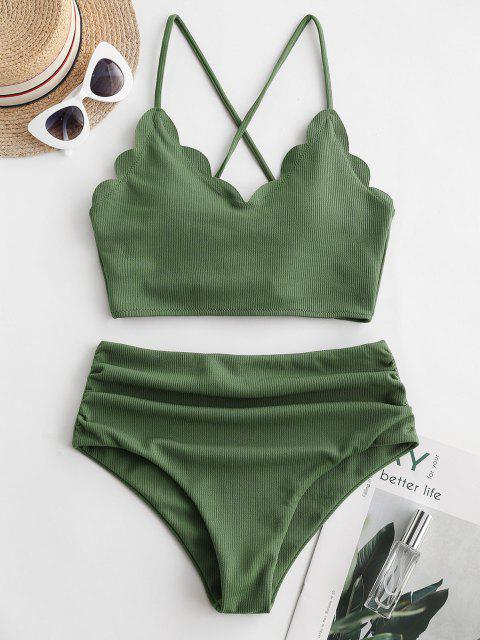 ladies ZAFUL Ribbed Scalloped Lace Up Tummy Control Tankini Swimsuit - MEDIUM FOREST GREEN L Mobile