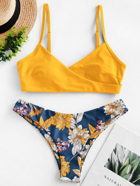 Costume da Bagno Bikini Imbottito Floreale di ZAFUL - Giallo S Mobile