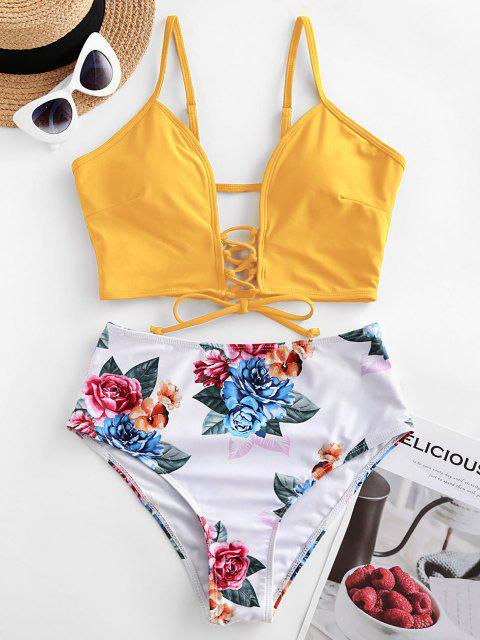 women ZAFUL Lace-up Floral Leaf Tankini Swimsuit - GOLDEN BROWN XL Mobile