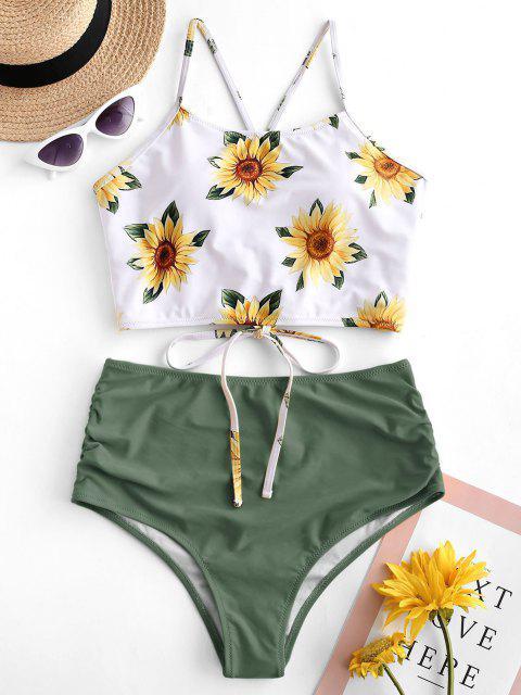 sale ZAFUL Crisscross Ruched Sunflower Tankini Set - CAMOUFLAGE GREEN M Mobile