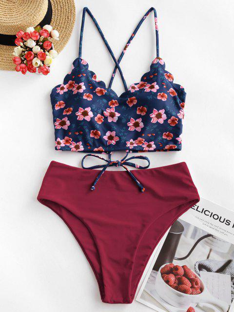 lady ZAFUL Floral Scalloped Crisscross Tankini Swimsuit - RED WINE M Mobile